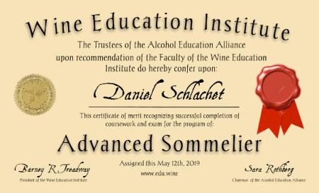 sommelier certificate